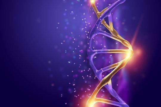 Creative background, dna structure, golden DNA molecule on violet background, ultraviolet. 3d render, 3d illustration. The concept of medicine, research, experiments, experiment, virus, disease.