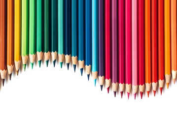 Color pencils isolated on white background. Copy space