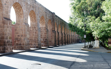 View of the city's old aqueduct, Morelia, Michoacan, Mexico.