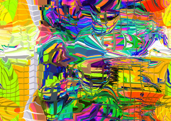 Foto op Plexiglas Paradijsvogel Colorful abstract illustration with elements of art