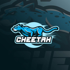 cheetah mascot logo design vector with modern illustration concept style for badge, emblem and tshirt printing. angry cheetah illustration for sport team.