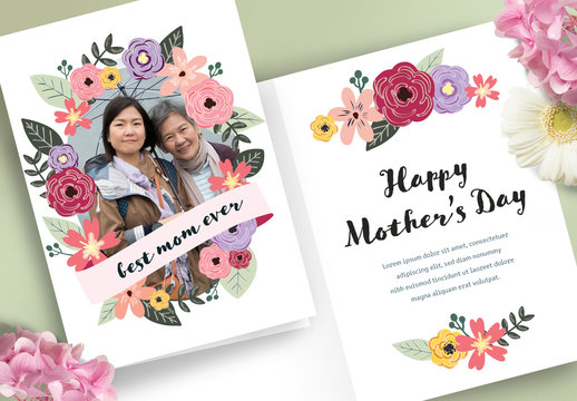 Illustrative Floral Mother's Day Card Layout