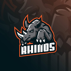rhino mascot logo design vector with modern illustration concept style for badge, emblem and tshirt printing. angry rhino illustration for sport and esport team.