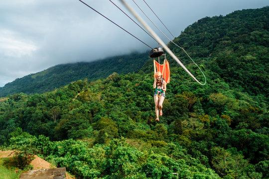 Apr 23, 2017 Adult woman, Zip line adventure at Mountain lake resort in Cavinti Philippines