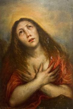 """Pavia, Italy. 2017/11/11. The painting """"Maddalena penitente"""" - the penitent Mary Magdalene - by Francesco Cairo (1607-1665). Currently in Castello Visconteo."""