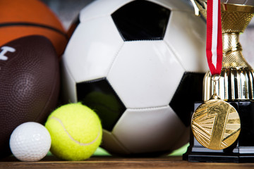 Group of sports equipment, Winner background