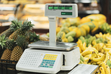 Electronic Scales for weighing Food on a white background 3d Rendering