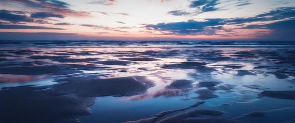 Sunset on porthtowan beach cornwall england uk  Wall mural
