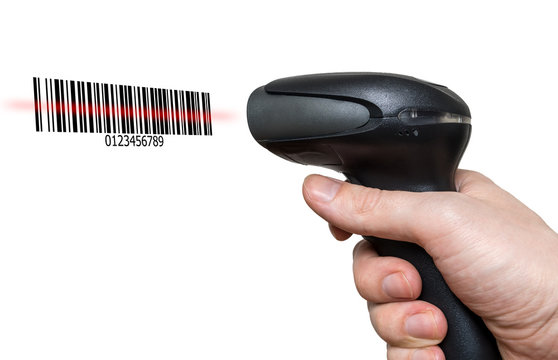 Scanning barcode with bar code reader isolated on white backgrou