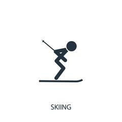 Skier icon. Simple sportsman element illustration. Ski symbol de