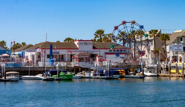 Balboa fun zone in Newport Beach California on a sunny summer day