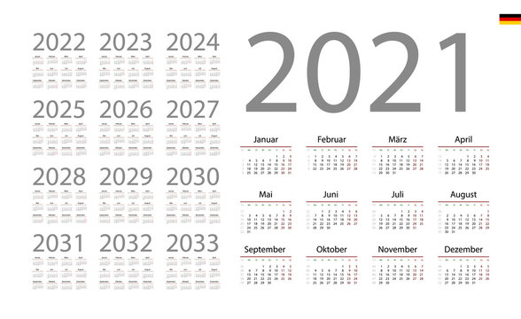 German Calendar for 2021. Week starts on Monday