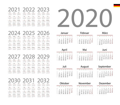 German Calendar for 2020. Week starts on Monday