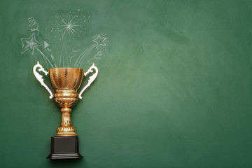 Golden trophy cup and chalk drawings on color background, top view with space for text Wall mural