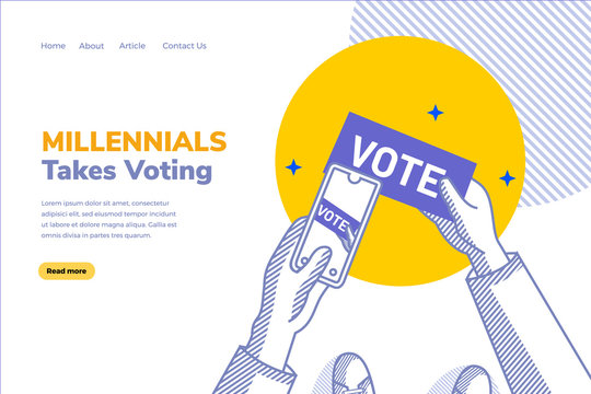 Illustration of millennial takes voting and they always exist update to social media post. Flat outlined character concept with yellow and blue color. Editable graphic design for business concept.