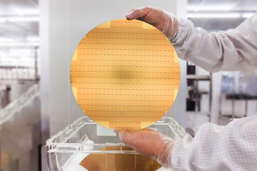 Wall Mural - Silicon wafers prepared for chip production, showing a wafer cleaning , blurred background