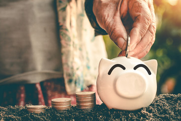 Saving money in pig bank for future use, Concept saving money for the future.