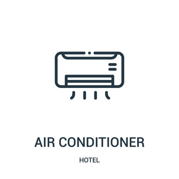 air conditioner icon vector from hotel collection. Thin line air conditioner outline icon vector illustration.