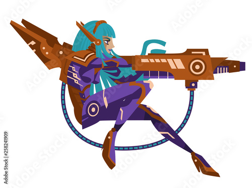 Anime Manga Science Fiction Cyborg Girl With Blaster Cannon Weapon