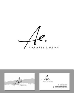 A E AE initial handwriting logo template vector.  signature logo concept