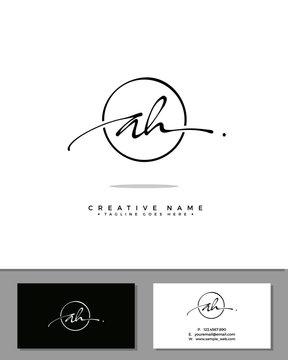A H AH initial handwriting logo template vector.  signature logo concept