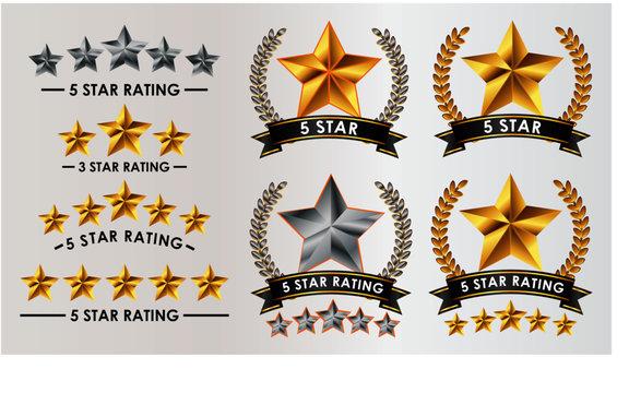 set of customer feedback 5 star rating. easy to modify