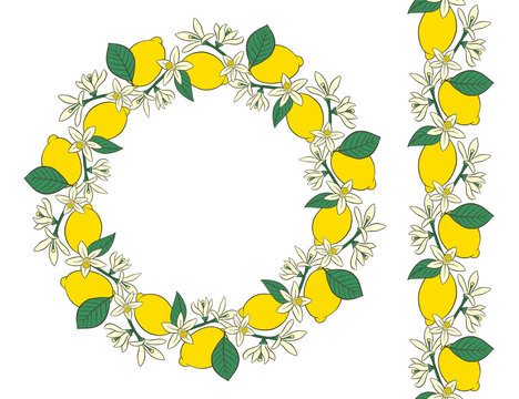 Wreath and a border of flowers and lemons.