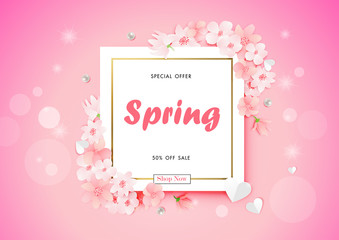 Spring sale background with beautiful flower , vector illustration template, banners, Wallpaper, invitation, posters, brochure, voucher discount.