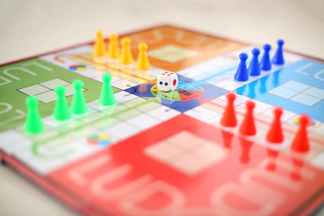 Picture of ludo board family game.