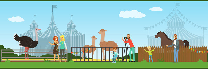 People visiting zoo and watching animals at excursion vector Illustration in flat style