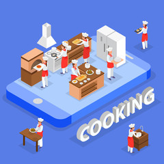 Cooking Isometric Composition