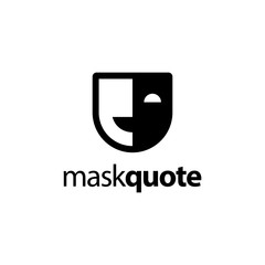 mask and quote logo concept