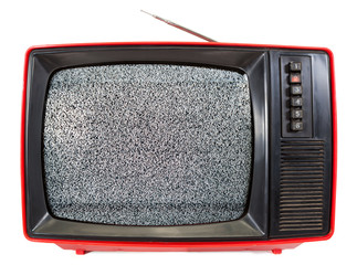Vintage portable TV set with static noise on screen isolated on white