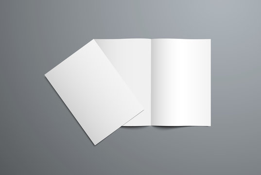 Realistic vector mockup of open and closed bi-fold brochure.