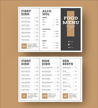 Template white vector trifold menu with a black cover and brown elements.