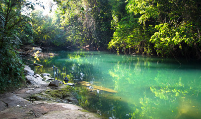 Tuinposter Bos rivier The Rio Grande (not related to the river on the Mexico/US border) flows through beautiful and dense jungle in southern Belize. This idyllic swimming location has a handrail and stepping stones.