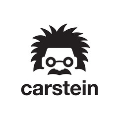 illustration negative space logo combination from car with einstein logo design concept