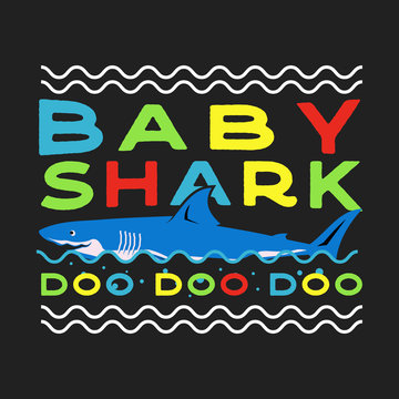 Happy Fathers or Mothers Day Typography Print - Baby shark Doo Doo quote with smiling shark. Retro style saying illustration. For t-shirt gift or other printing on birthday, anniversary. Stock vector