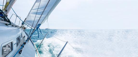 sailboat sailing with waves, template Wall mural