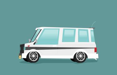 Vector illustration of a little van