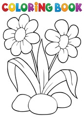 Canvas Prints For Kids Coloring book spring flower topic 1