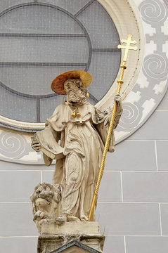 St Hieronymus (Jerome) and his lion statue
