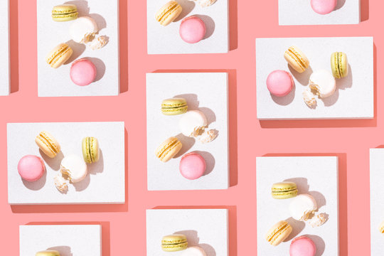 Colorful Macarons or Macaroons on Bright Background, Minimal Top View Flat Lay