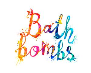 Bath bombs. Rainbow splash paint