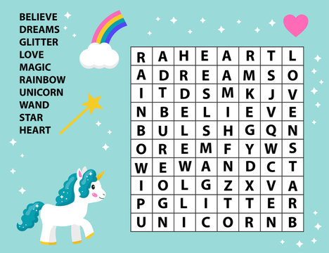 Educational game word search for kids. Crossword game. Fairy tale. Cute cartoon vector unicorn, rainbow and magic wand. Learning english vocabulary.