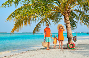 Wall Mural - Family of three on beach under palm tree