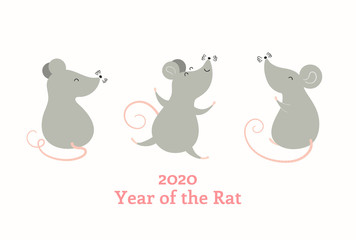 Spoed Fotobehang Illustraties 2020 Chinese New Year greeting card with cute rats, text, numbers. Isolated objects on white background. Vector illustration. Flat style design. Concept for holiday banner, decor element.