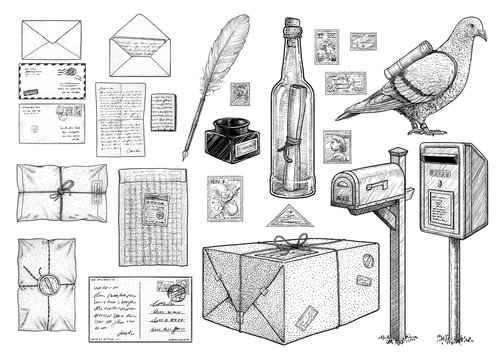 Correspondence equipment collection, illustration, drawing, engraving, ink, line art, vector