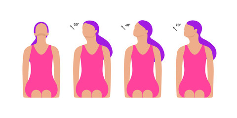 Vector colorful illustration. Neck exercises by girl for relax. Work with head. Turn and fix neck position for 15 seconds. Creative concept. Pink and violet colors.