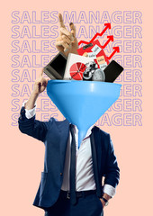 Sales manager knows the price of time. A funnel headed man in suit with laptop, smartphone,...